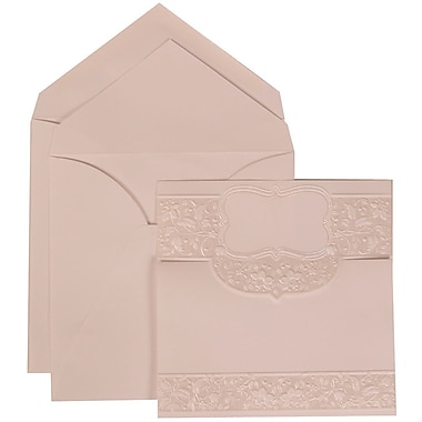 JAM Paper® Wedding Invitation Set, Large, 5.5 x 7.75, White with White Envelopes and Floral Embossed Crest, 50/pack (309125007)