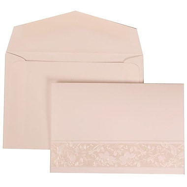 JAM Paper® Wedding Invitation Set, Small, 3 3/8 x 4 3/4, White Card, Floral Embossed Crest, White Envelope, 100/pack (309125004)