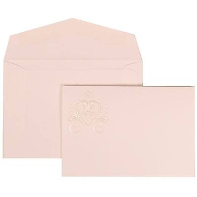 JAM Paper® Wedding Invitation Set, Small, 3 3/8 x 4 3/4, White with White Envelopes and Heart Carriage, 100/pack (313425320)