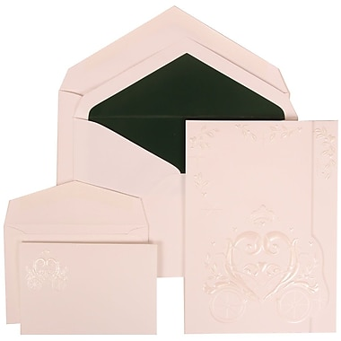 JAM Paper® Wedding Invitation Combo Sets, 1 Sm 1 Lg, White Card with Heart, Forest Green Lined Envelopes, 150/pack (313425321)