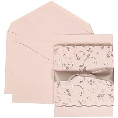 JAM Paper® Wedding Invitation Set, Large, 5.5 x 7.75, White with White Envelopes and Silver Rose Ribbon, 50/pack (302924681)