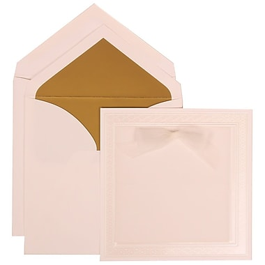 JAM Paper® Wedding Invitation Set, Large, 5.5 x 7.75, White with Gold Lined Envelopes and White Border Bow, 50/pack (303125299)