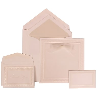 JAM Paper® Wedding Invitation Combo Sets, 1 Sm 1 Lg, White Cards, White Border, Bow, Crystal Lined Envelopes, 150/pk (303125302)