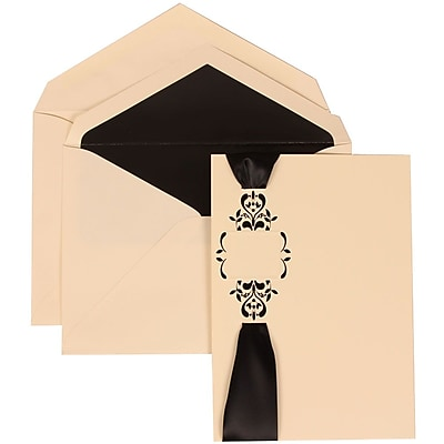 JAM Paper® Wedding Invitation Set, Large, 5.5 x 7.75, Ivory with Black Lined Envelopes with Monogram Ribbon, 50/pack (303224683)