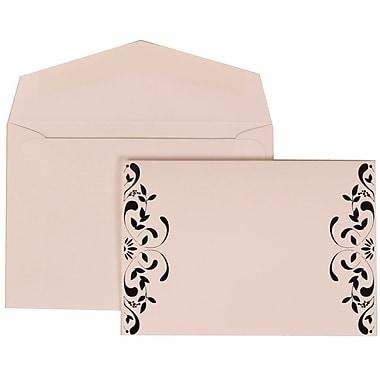 JAM Paper® Wedding Invitation Set, Small, 3 3/8 x 4 3/4, White with White Envelopes and Monogram Ribbon, 100/pack (303224687)