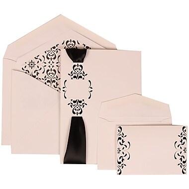 JAM Paper® Wedding Invitation Combo Sets, 1 Sm 1 Lg, White Cards, Monogram, Ribbon, Castilian Lined Envelope, 150/pk (303224690)