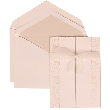 JAM Paper® Wedding Invitation Set, Large, 5.5 x 7.75, White Cards, Ivory Ribbon, Crystal Lined Envelopes, 50/pack (303324739)
