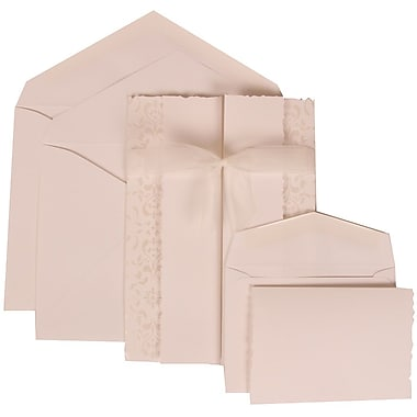 JAM Paper® Wedding Invitation Combo Sets, 1 Sm 1 Lg, White Cards, Ivory Ribbon, Crystal Lined Envelopes, 150/pack (303324740)