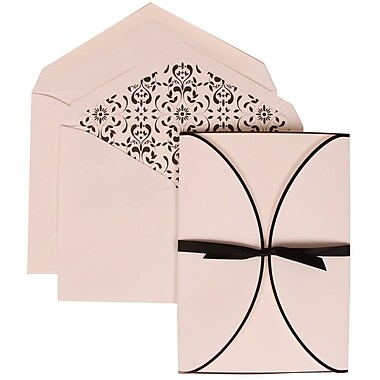 JAM Paper® Wedding Invitation Set, Large, 5.5 x 7.75, White Cards, Black Ribbon, Castilian Lined Envelopes, 50/pack (303424754)