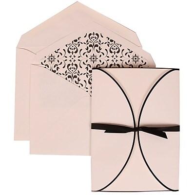 JAM Paper® Wedding Invitation Set, Large, 5.5 x 7.75, White Cards, Black Ribbon, Castilian Lined Envelopes, 50/pack (303424754)