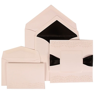JAM Paper® Wedding Invitation Combo Sets, 1 Sm 1 Lg, White with Black Ribbon with Black Lined Envelopes, 150/pack (303524838)