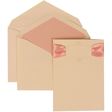 JAM Paper® Wedding Invitation Set, Large, 5.5 x 7.75, Ivory, Monogram, Pink Ribbon, Pink Lined Envelopes, 50/pack (303624857)
