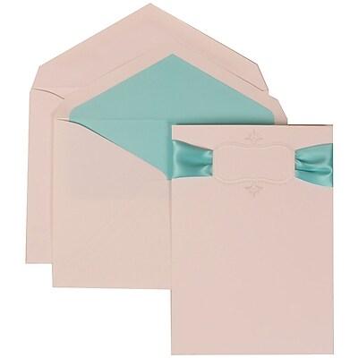 JAM Paper® Wedding Invitation Set, Large, 5.5 x 7.75, Ivory, Monogram, Blue Ribbon, Blue Lined Envelopes, 50/pack (303624860)