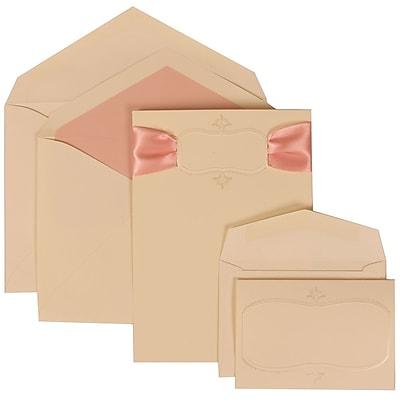 JAM Paper® Wedding Invitation Combo Sets, 1 Sm 1 Lg, Ivory, Monogram, Pink Ribbon, Pink Lined Envelopes, 150/pack (303624859)