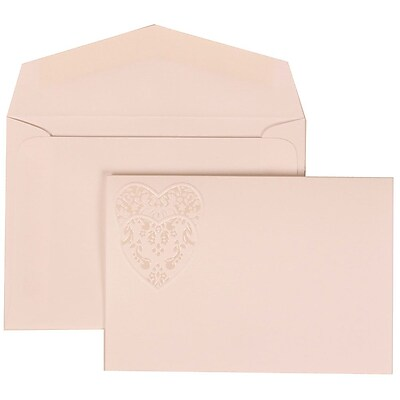 JAM Paper® Wedding Invitation Set, Small, 3 3/8 x 4 3/4, White with White Envelopes and Large Heart Ribbon, 100/pack (303724996)