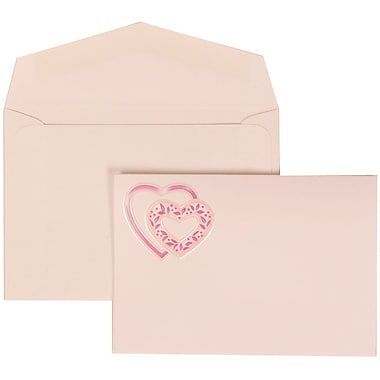 JAM Paper® Wedding Invitation Set, Small, 3 3/8 x 4 3/4, White Cards with Pink Heart, White Envelopes, 100/pack (303824900)