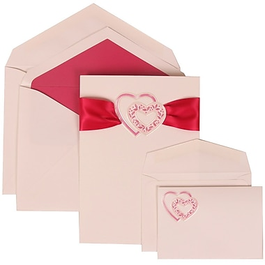 JAM Paper® Wedding Invitation Combo Sets, 1 Sm 1 Lg, White Cards, Pink Heart Ribbon, Pink Lined Envelopes, 150/pack (303824901)