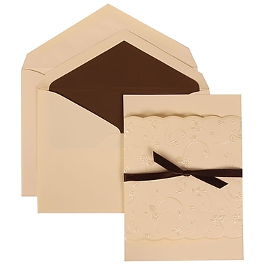 JAM Paper® Wedding Invitation Set, Large, 5.5 x 7.75, Ivory with Brown Lined Envelopes with Ribbon, 50/pack (304124976)