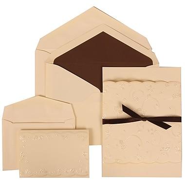 JAM Paper® Wedding Invitation Combo Sets, 1 Sm 1 Lg, Ivory Cards, Brown Lined Envelopes, Brown Ribbon Design, 150/pk (304124978)