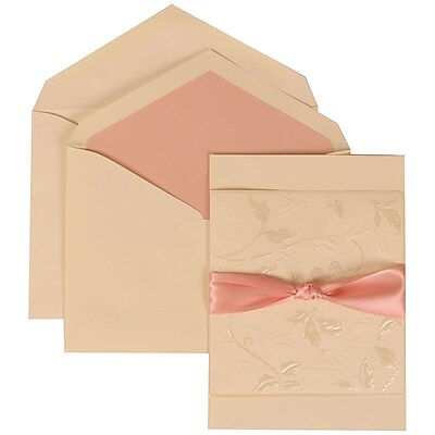 JAM Paper® Wedding Invitation Set, Large, 5.5 x 7.75, Ivory Cards, Flowers, Pink Ribbon, Pink Lined Envelopes, 50/pk (304225009)