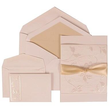 JAM Paper® Wedding Invitation Combo Sets, 1 Sm 1 Lg, White Card, Falling Leaves, Ribbon, Ecru Lined Envelopes,150/pk (304225014)