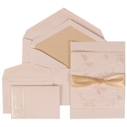 JAM Paper® Wedding Invitation Combo Sets, 1 Sm 1 Lg, White Card, Falling Leaves, Ribbon, Ecru Lined Envelopes,150/pk (304225014)