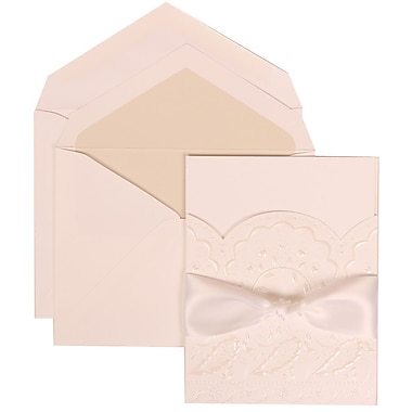 JAM Paper® Wedding Invitation Set, Large, 5.5 x 7.75, White, Flowers, White Ribbon, Crystal Lined Envelopes, 50/pack (304325157)
