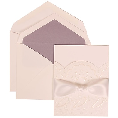 JAM Paper® Wedding Invitation Set, Large, 5.5 x 7.75, White, Flower, White Ribbon, Orchid Lined Envelopes, 50/pack (304325160)
