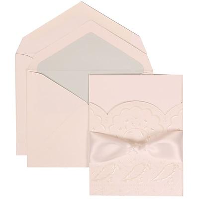 JAM Paper® Wedding Invitation Set, Large, 5.5 x 7.75, White, Flowers, White Ribbon, Lt Blue Lined Envelopes, 50/pack (304325161)