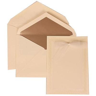 JAM Paper® Wedding Invitation Set, Large, 5.5 x 7.75, Ivory with Sheer White Bow and Ivory Border Bow, 50/pack (304724662)