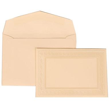 JAM Paper® Wedding Invitation Set, Small, 3 3/8 x 4 3/4, Ivory with Ivory Envelopes and Ivory Border Bow, 100/pack (304724666)