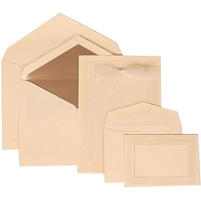 JAM Paper® Wedding Invitation Combo Sets, 1 Sm 1 Lg, Ivory Card, Ivory Border, Ivory Bow, White Lined Env, 150/pack (304724663)