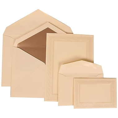 JAM Paper® Wedding Invitation Combo Sets, 1 Sm 1 Lg, Ivory Card, Ivory Border, White Bow, Taupe Lined Env, 150/pack (304724665)