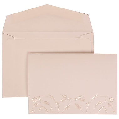 JAM Paper® Wedding Invitation Set, Small, 3 3/8 x 4 3/4, White Card with Embossed Flowers, White Envelopes, 100/pack (306224781)