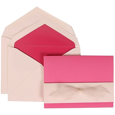 JAM Paper® Wedding Invitation Set, Large, 5.5 x 7.75, Pink with Pink Lined Envelopes and Pink and White Bow, 50/pack (307724905)