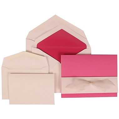 JAM Paper® Wedding Invitation Combo Sets, 1 Sm 1 Lg, Pink Cards, White Bow, Pink Lined Envelopes, 150/pack (307724907)