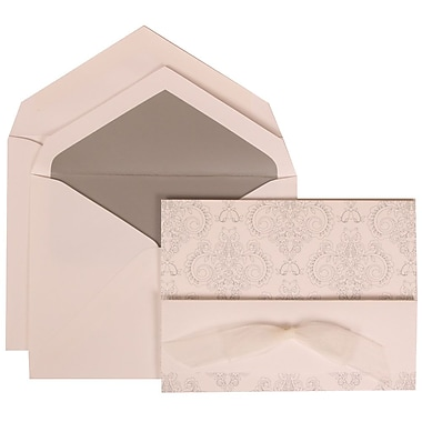 JAM Paper® Wedding Invitation Set, Large, 5.5 x 7.75, White with Silver Lined Envelopes and Bouquet Bow, 50/pack (309725067)