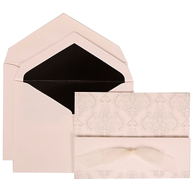 JAM Paper® Wedding Invitation Set, Large, 5.5 x 7.75, White with Black Lined Envelopes and Bouquet Bow, 50/pack (309725070)