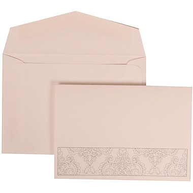 JAM Paper® Wedding Invitation Set, Small, 3 3/8 x 4 3/4, White with White Envelopes and Bouquet Bow, 100/pack (309725068)