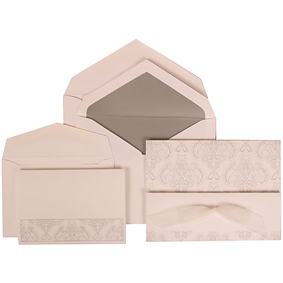 JAM Paper® Wedding Invitation Combo Sets, 1 Sm 1 Lg, White Cards, Bouquet Bow, Silver Lined Envelopes, 150/pack (309725069)