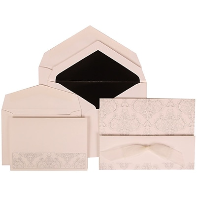 JAM Paper® Wedding Invitation Combo Sets, 1 Sm 1 Lg, White Cards, Bouquet Bow, Black Lined Envelopes,150/pack (309725071)