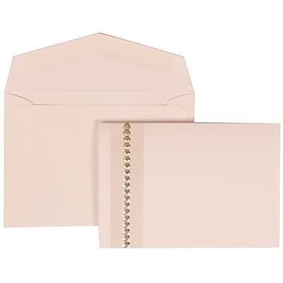 JAM Paper® Wedding Invitation Set, Small, 3 3/8 x 4 3/4, White with White Envelopes and Jewel Accent, 100/pack (305324692)