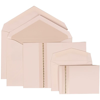 JAM Paper® Wedding Invitation Combo Sets, 1 Sm 1 Lg, White Cards, Jewel Accent, Crystal Lined Envelopes, 150/pack (305324693)