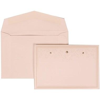 JAM Paper® Wedding Invitation Set, Small, 3 3/8 x 4 3/4, White Cards, Ivory Heart Jewels, White Envelopes, 100/pack (305424695)