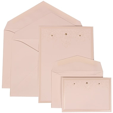 JAM Paper® Wedding Invitation Combo Sets, 1 Sm 1 Lg, White Cards, Ivory Heart Jewels, White Envelopes, 150/pack (305424700)