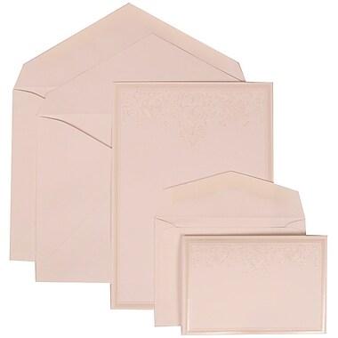 JAM Paper® Wedding Invitation Combo Sets, 1 Sm 1 Lg, White Cards, Ivory Heart Jewels, White Envelopes, 150/pack (305424707)