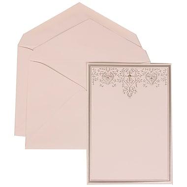 JAM Paper® Wedding Invitation Set, Large, 5.5 x 7.75, White Cards, Silver Heart Jewels, White Envelopes, 50/pack (305524711)
