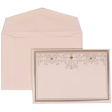 JAM Paper® Wedding Invitation Set, Small, 3 3/8 x 4 3/4, White Cards, Silver Heart Jewels, White Envelopes, 100/pack (305524709)