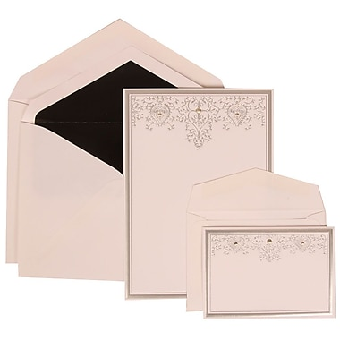 JAM Paper® Wedding Invitation Combo Sets, 1 Sm 1 Lg, White Cards, Silver Heart Jewels, Black Lined Envelopes, 150/pk (305524710)