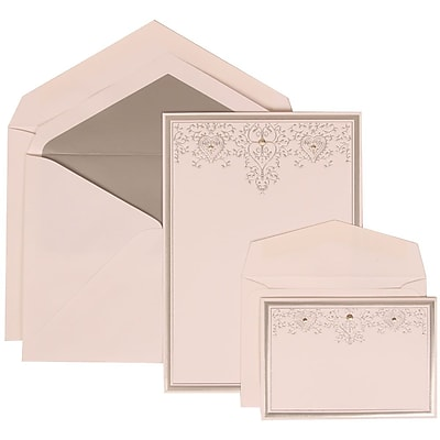 JAM Paper® Wedding Invitation Combo Sets, 1 Sm 1 Lg, White, Silver Heart Jewels, Silver Lined Envelopes, 150/pack (305524714)